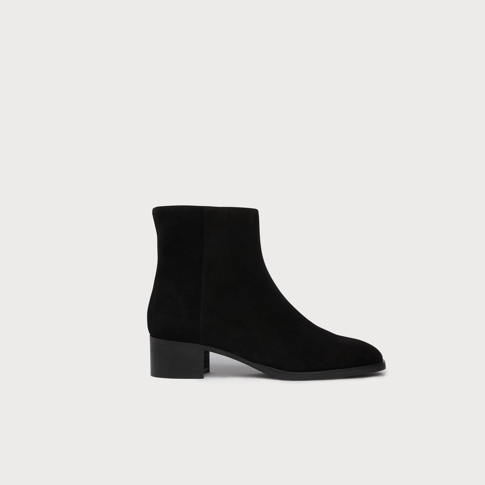 Ameli Black Suede Ankle Boots
