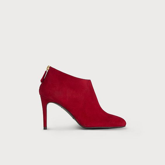 Emily Red Suede Ankle Boots