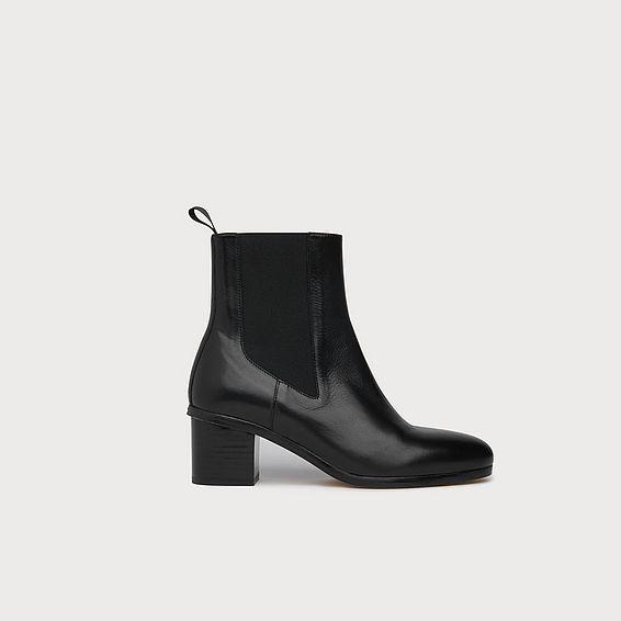 Laurela Black Leather Ankle Boots