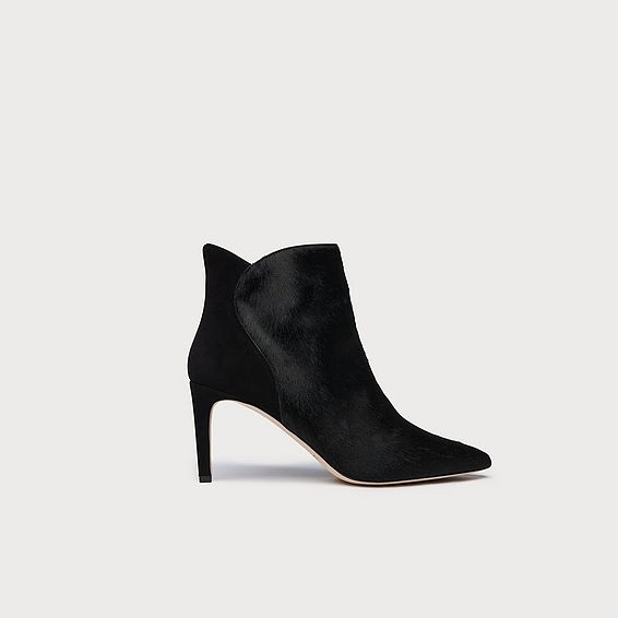Maja Black Calf Hair Suede Ankle Boots