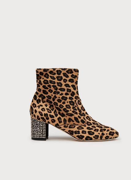 Phoebe Leopard Print Calf Hair Ankle Boots
