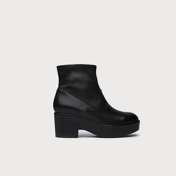 Kimberly Black Leather Ankle Boots