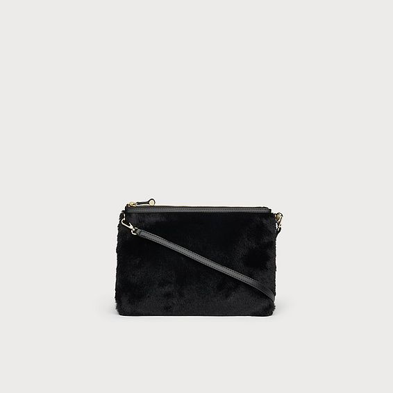 Poppy Black Faux Fur Pouch