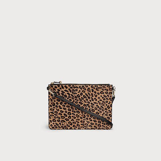 Poppy Leopard Print Calf Hair Pouch