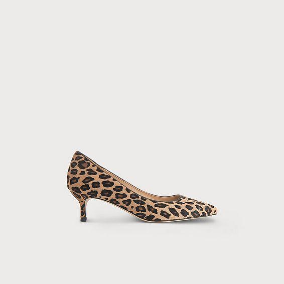 Audrey Leopard Print Calf Hair Kitten Heel Courts