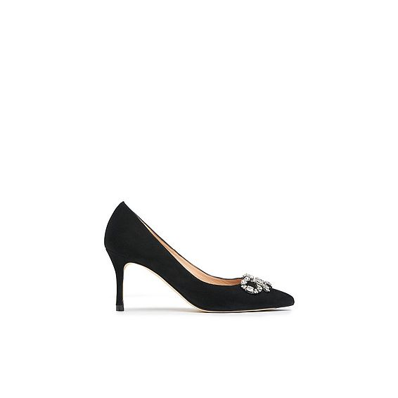Bianca Black Suede Closed Courts