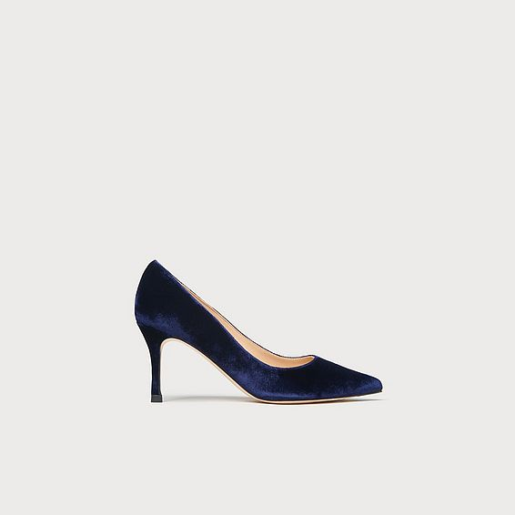 Bianca Navy Velvet Closed Courts
