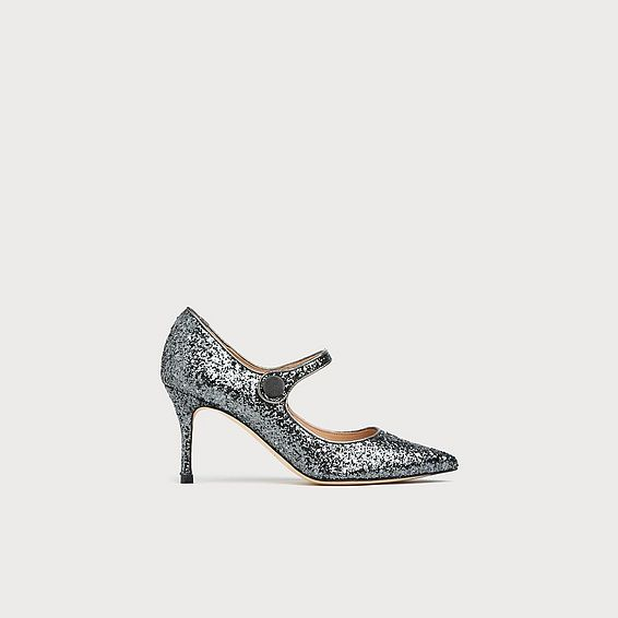 Monica Grey Glitter Suede Closed Courts
