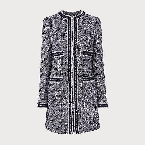Charl Navy Cream Tweed Coat