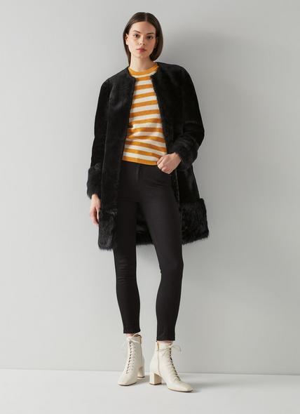 Mishia Black Shearling Coat