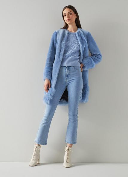 Mishia Blue Shearling Coat