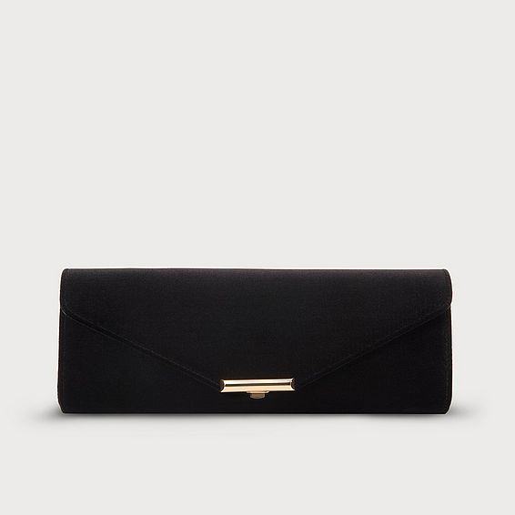Cecilia Black Velvet Clutch Bag