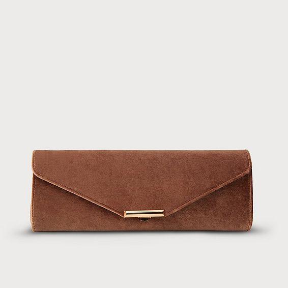 Cecilia Bronze Velvet Clutch Bag