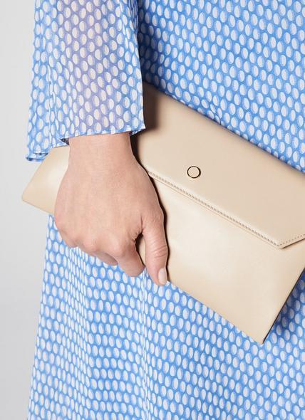 Dora Cream Leather Envelope Clutch