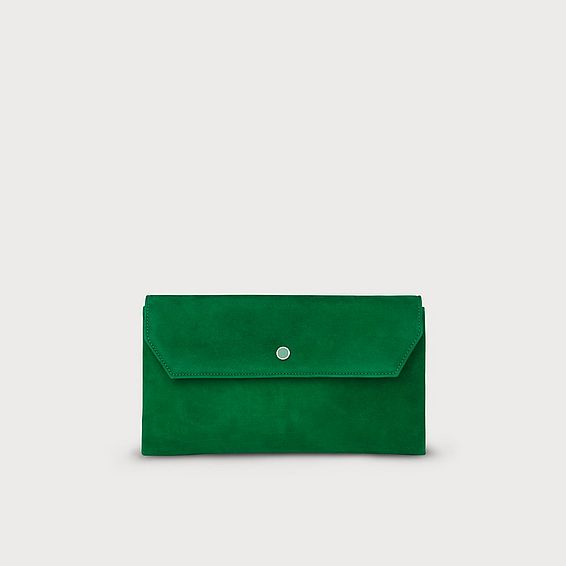 Dora Green Suede Clutch Bag