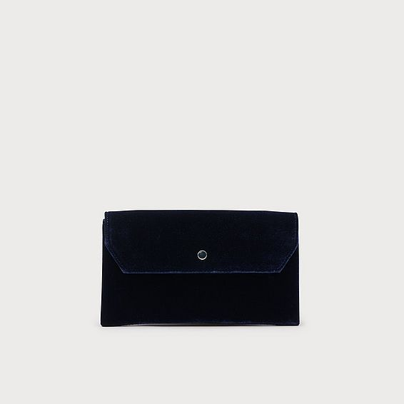 Dora Navy Velvet Clutch Bag