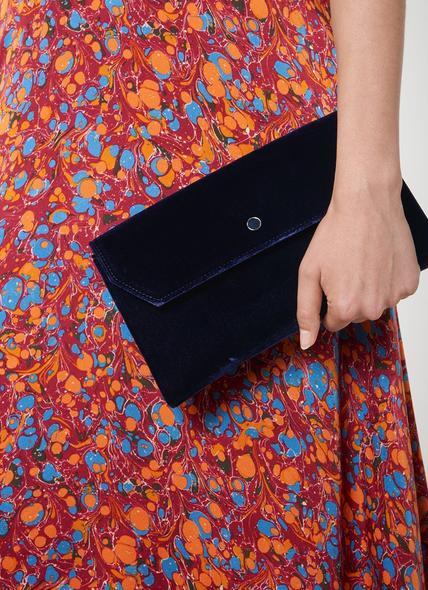 Dora Navy Velvet Envelope Clutch