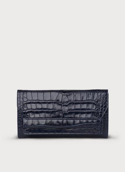 Ella Navy Croc Effect Leather Clutch
