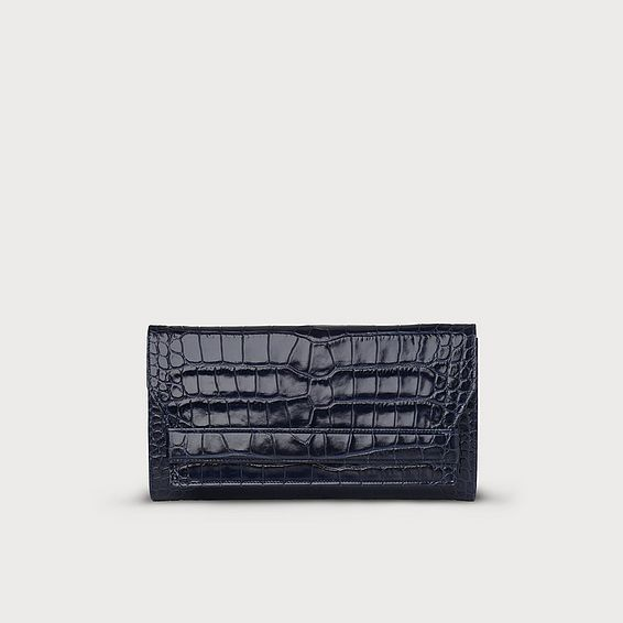 Ella Navy Croc Effect Clutch Bag