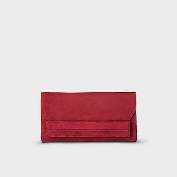 Ella Poppy Suede Clutch Bag