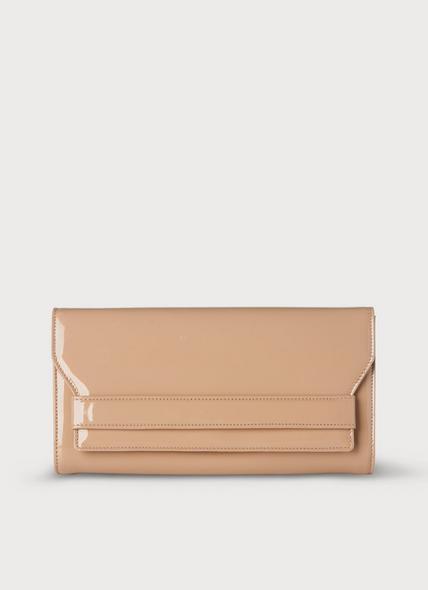 Ella Nude Patent Leather Clutch
