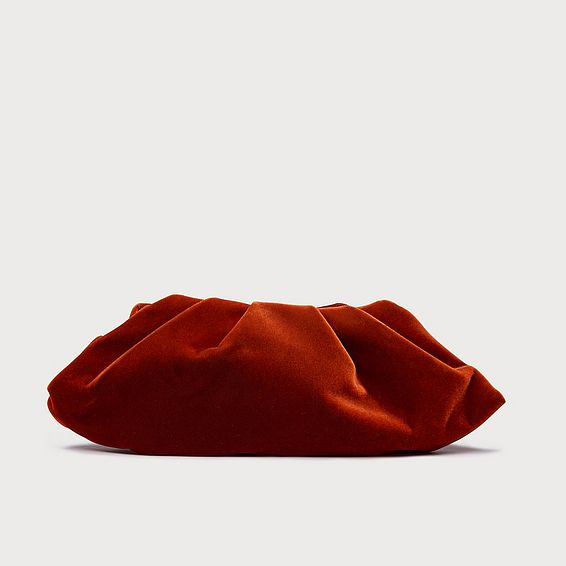 Felicity Orange Velvet Clutch Bag