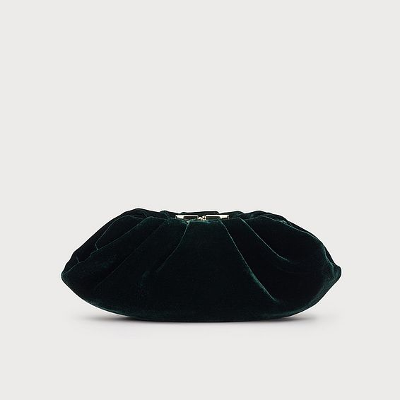 Felicity Green Velvet Clutch Bag