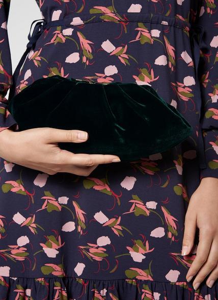 Felicity Green Velvet Clutch Bag