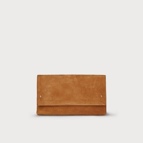 Madeline Brown Suede Clutch