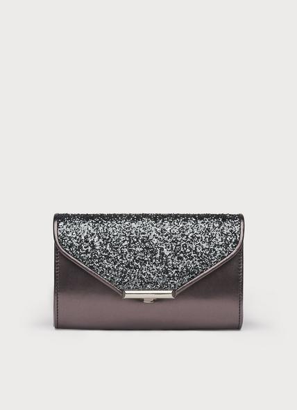 Sissi Grey Glitter Clutch Bag