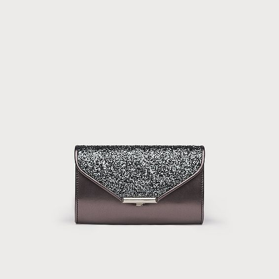 Sissi Grey Glitter Clutch Bag