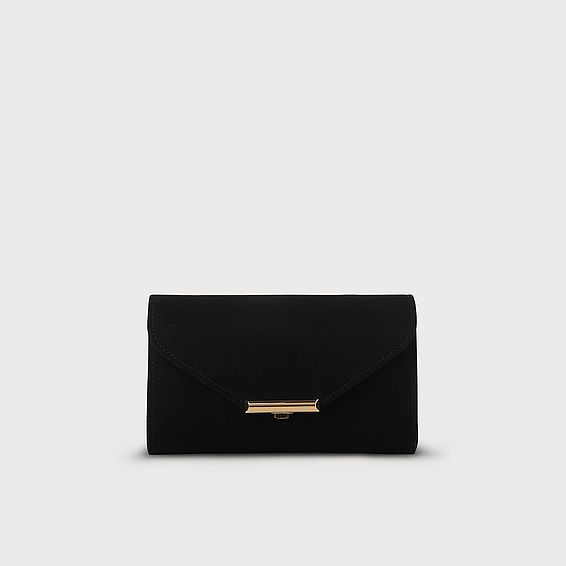 Sissi Black Suede Clutch
