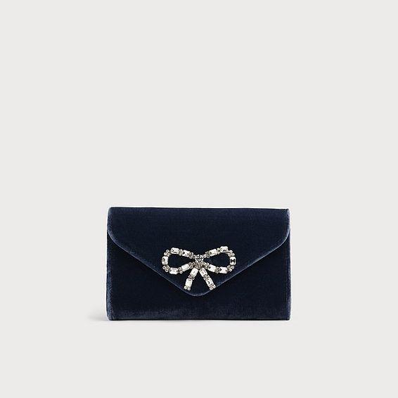 Sissi Blue Velvet Clutch Bag
