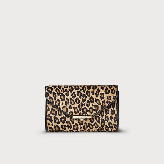 Sissi Leopard Print Calf Hair Clutch Bag