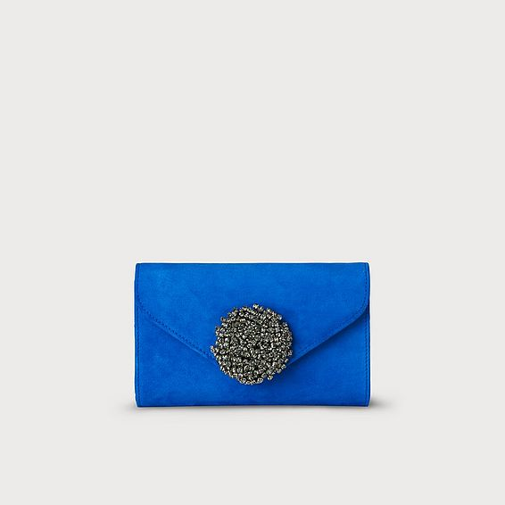 Sissi Blue Suede Clutch Bag