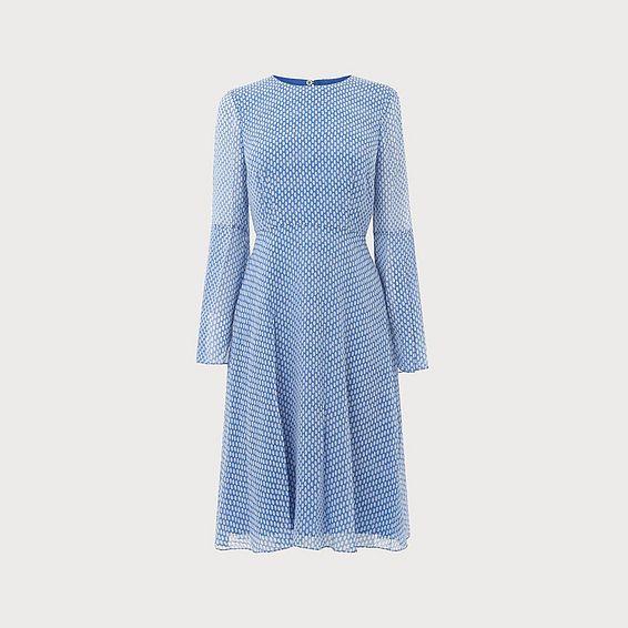 Abbie Blue White Silk Dress