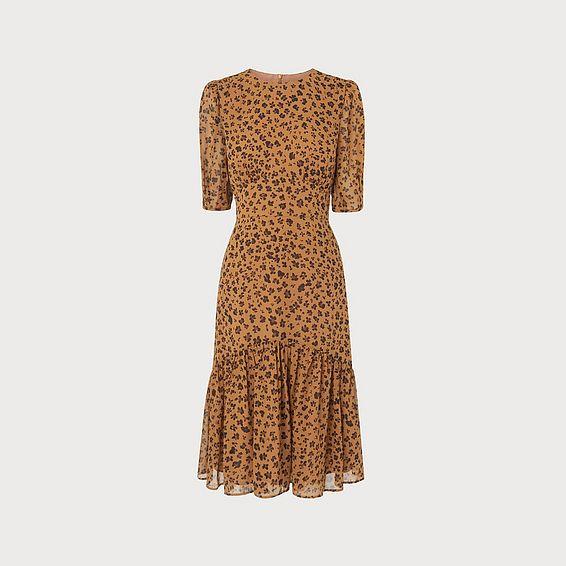 Alexa Leopard Print Silk Dress