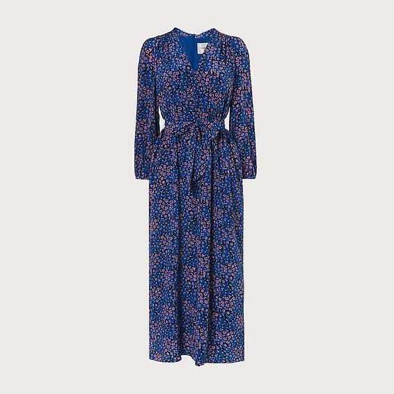 Ellora Blue Silk Culotte Jumpsuit