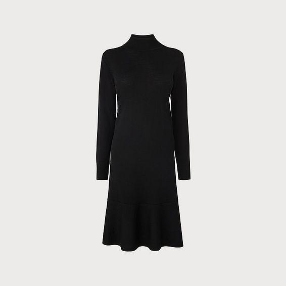 Flossy Black Merino Wool Dress