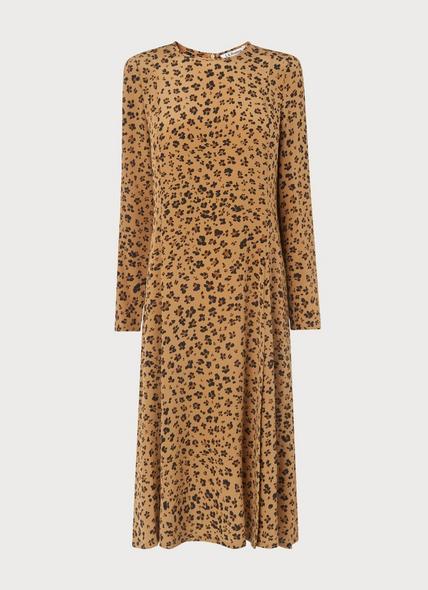 Leanie Leopard Print Silk Dress