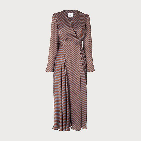 Loreta Rust Stripe Dress