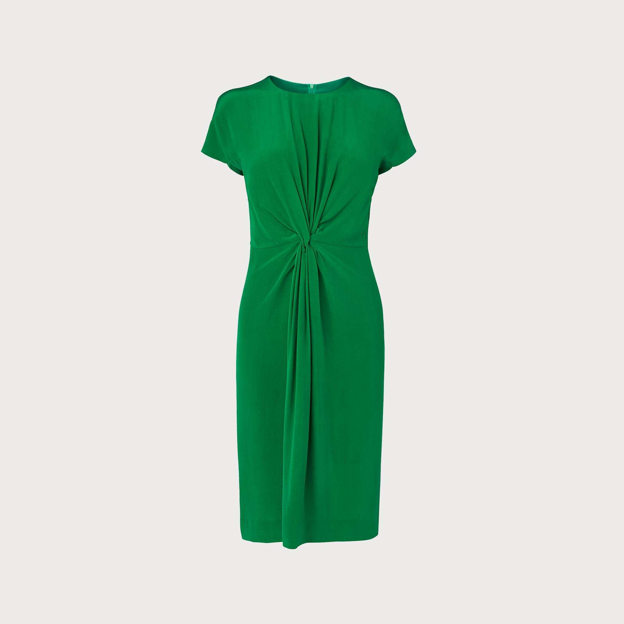 Milas Fern Green Silk Dress