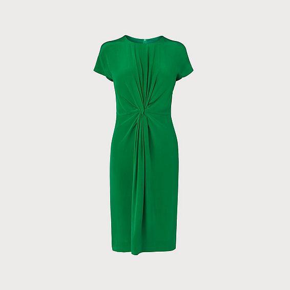 Milas Fern Green Silk Dress