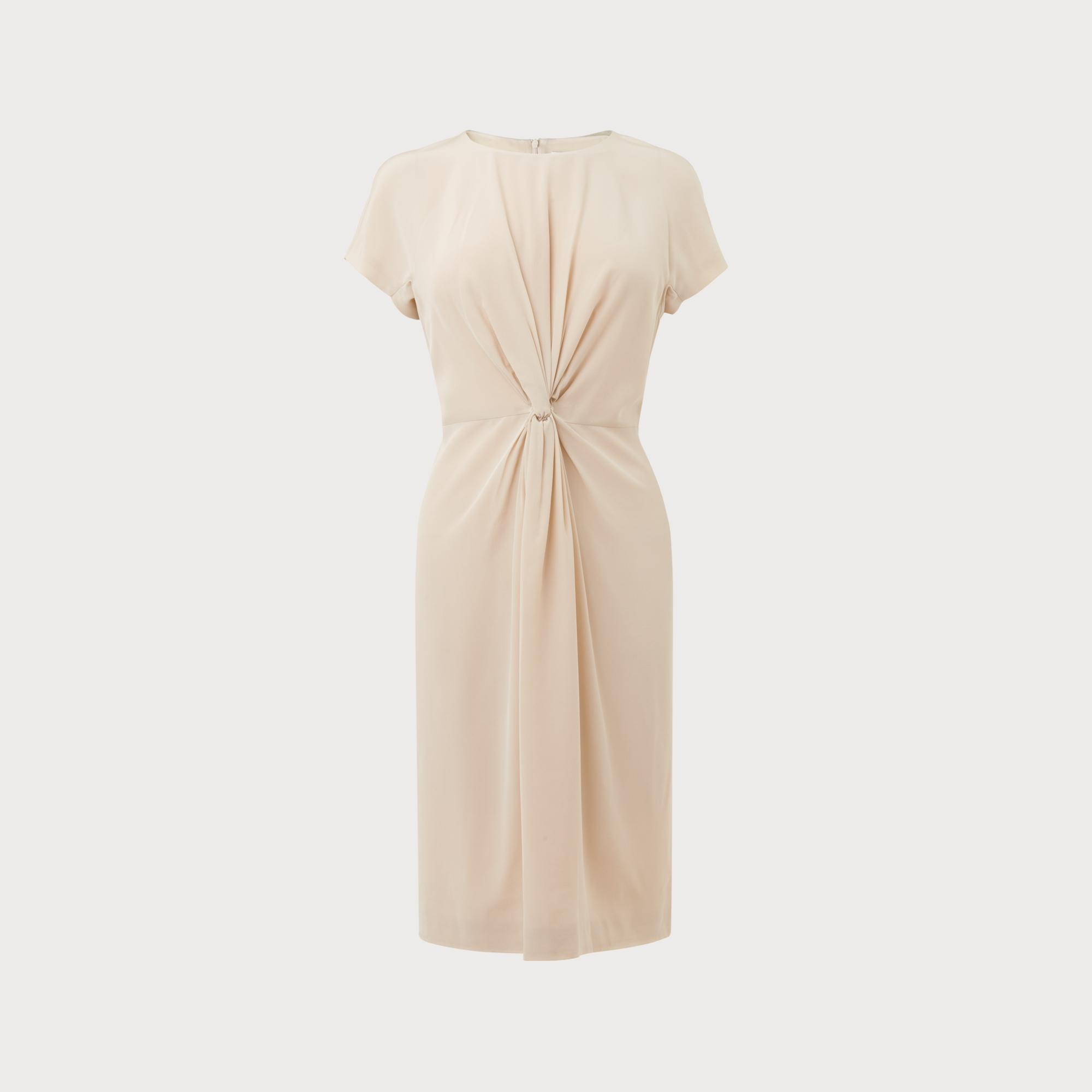 Milas Cream Silk Dress