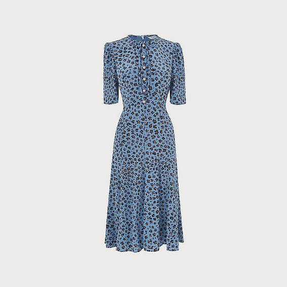 Montana Blue Leopard Print Silk Dress