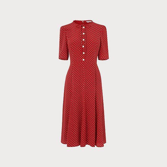 Montana Red Polka Dot Silk Dress