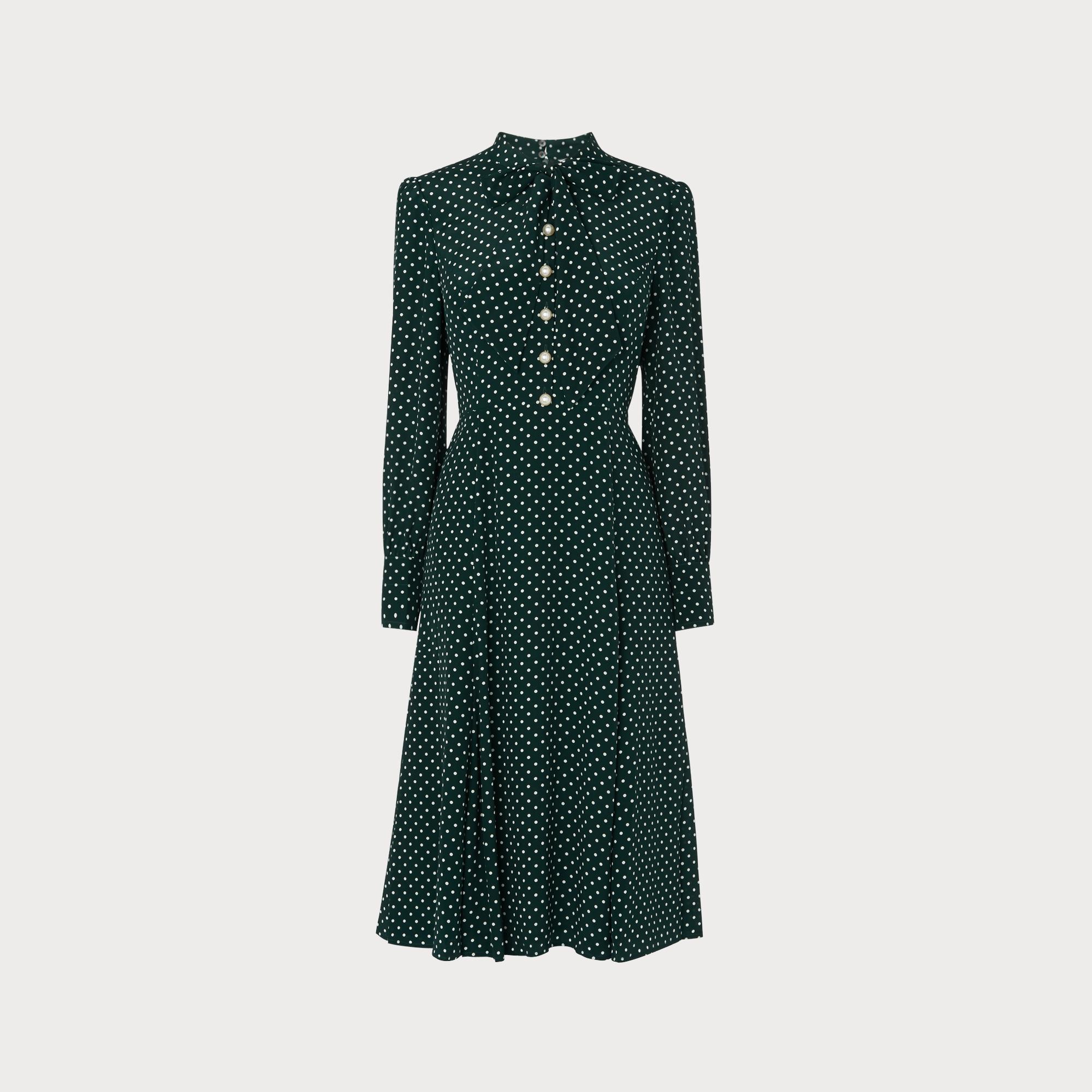 a9443279c0 Mortimer Green Polka Dot Silk Dress