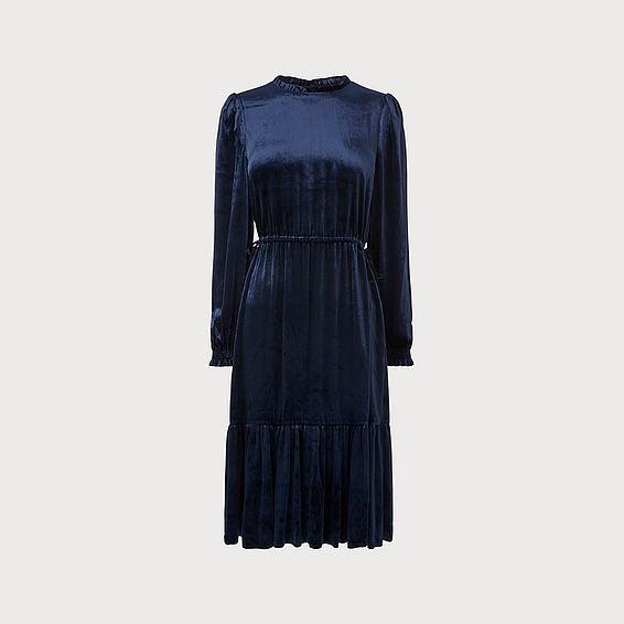 Noemi Navy Velvet Dress