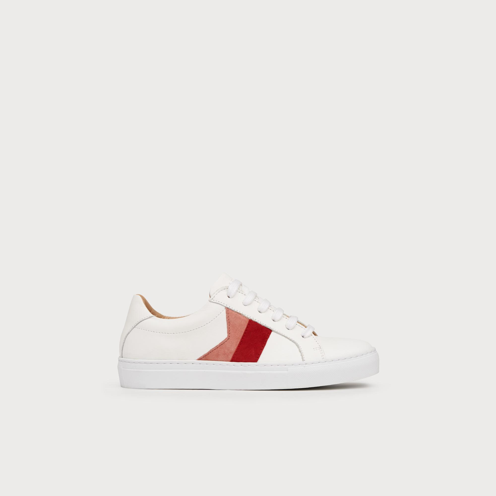 Alivia Red Pink Leather Lace Up Trainers