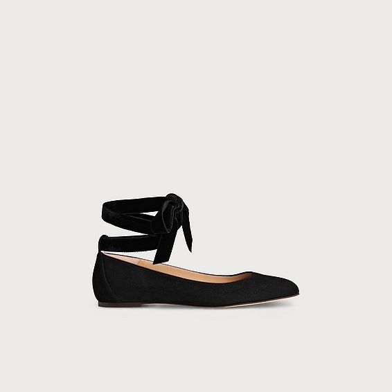 Maddy Black Suede Flats